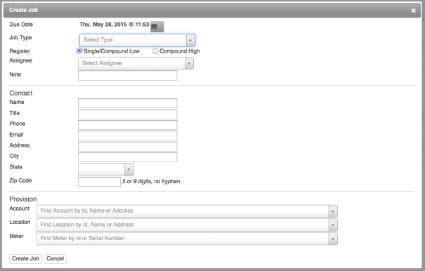 Create Job dialog box