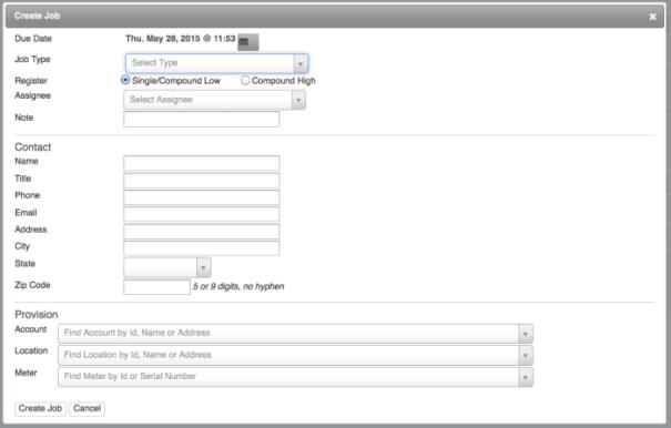 Create Job dialog box